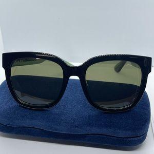 Brand New New Gucci GG 0034S Sunglass Black/Green